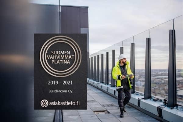 Suomen Vahvimmat Platina -sertifikaatti myönnetty Buildercom Oy:lle
